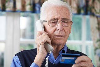 Elderly man being scammed