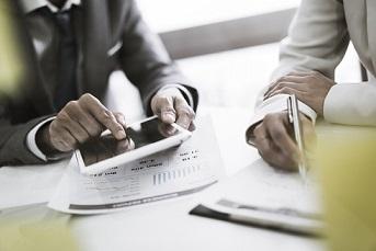 Financial planner advising client