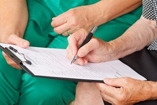 Signing medical form