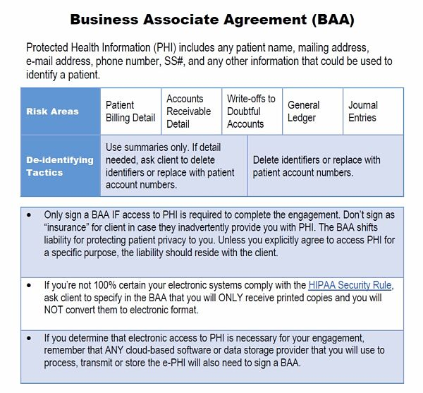 Should You Sign A Business Associate Agreement Under HIPAA AICPA - Hipaa business associate agreement template